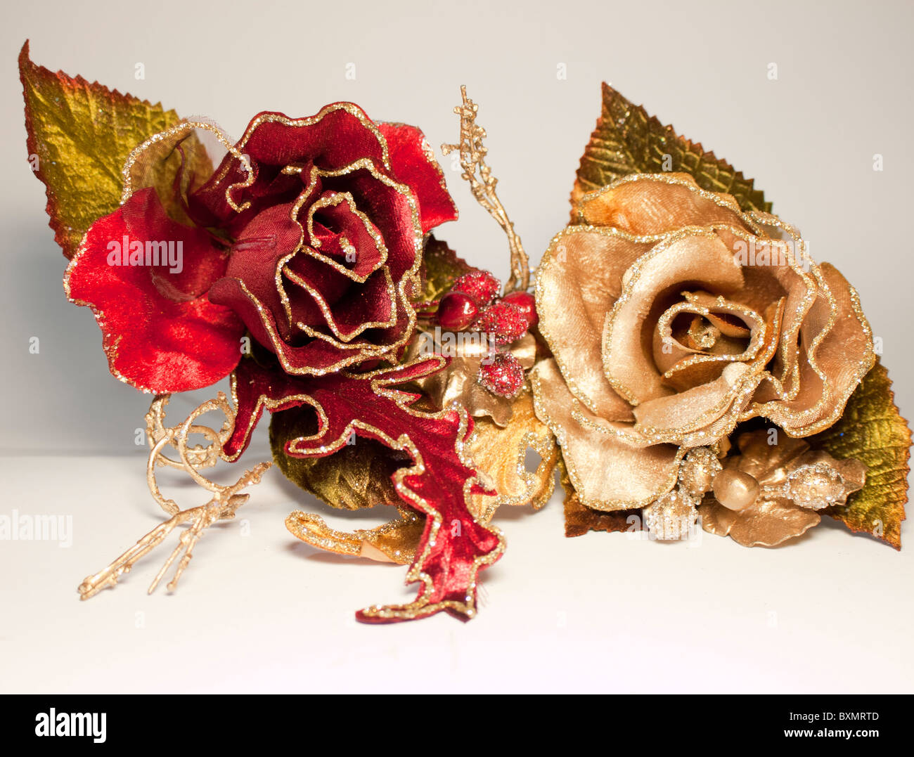 Artificial silk christmas flower red and gold rose glitter stock artificial silk christmas flower red and gold rose glitter mightylinksfo