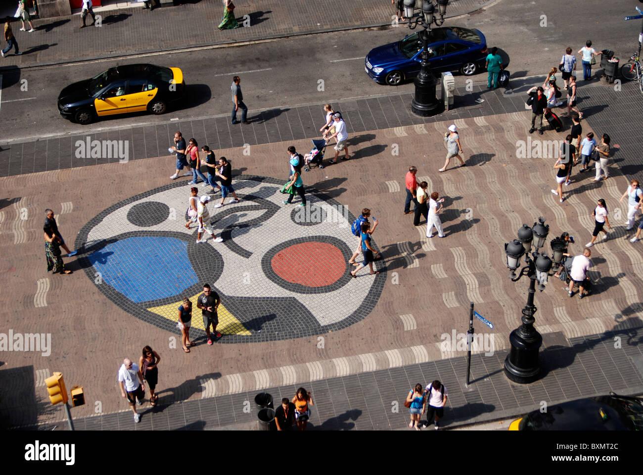 Las Ramblas Barcelona, Miró design - Stock Image