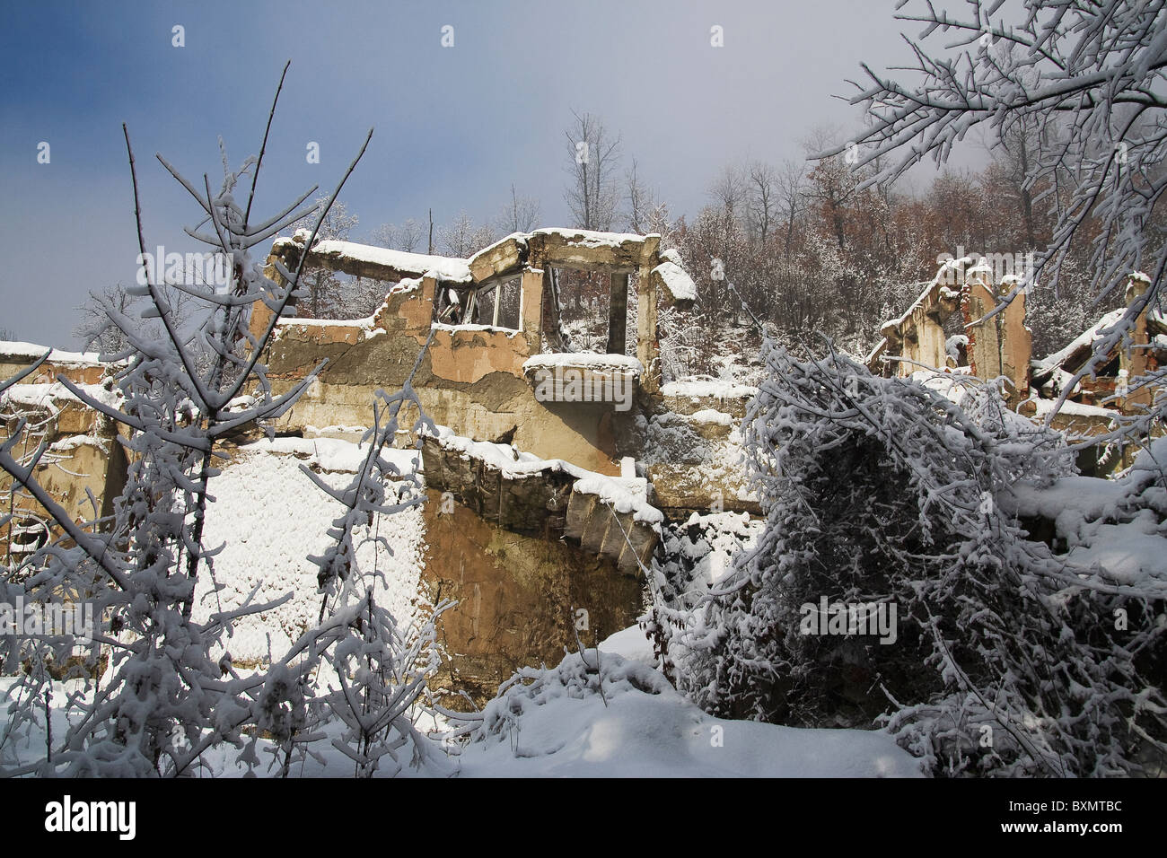 A building in Germia Park, a public area outside Prishtina in Kosovo, destroyed during the 1999 conflict with Serbia. Stock Photo
