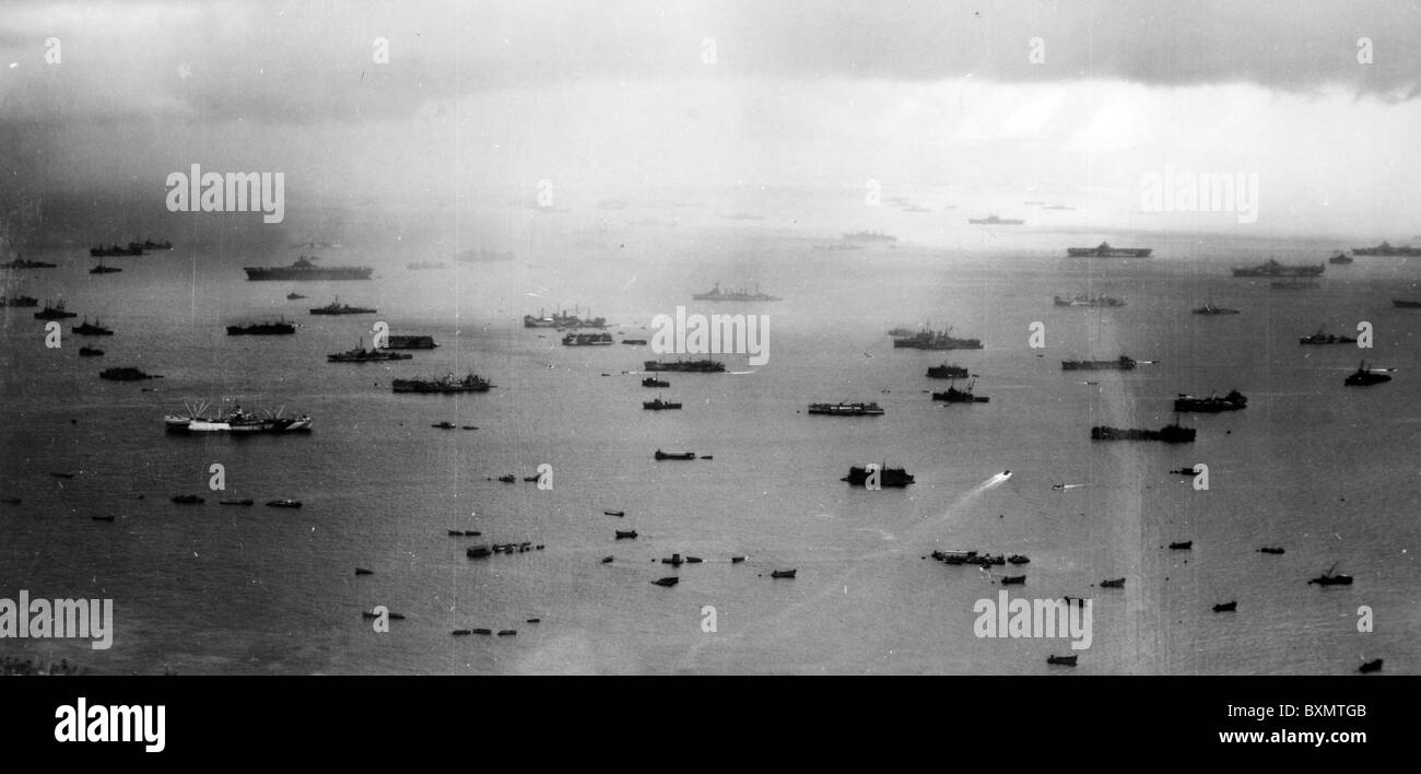 Aerial of units of the famed U.S. Navy's Fifth Fleet at a Pacific Anchorage in preparation for the mighty assault - Stock Image