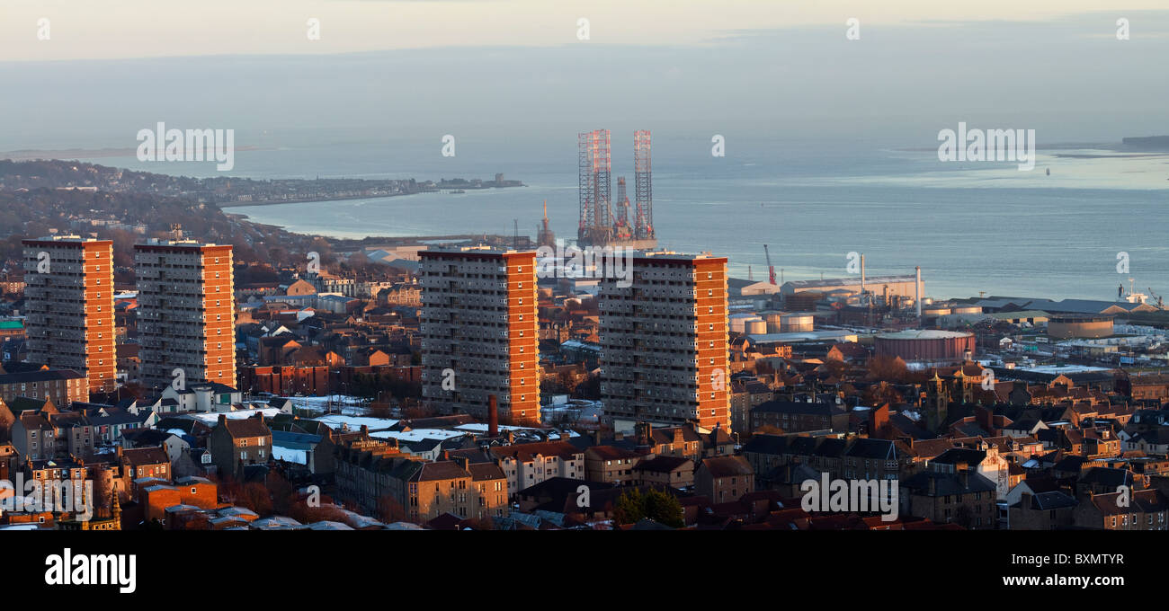 Landscape Panaroma of the Scottish City of Dundee _ River Tay and Estuary _ High rise buildings & CBD from Dundee - Stock Image