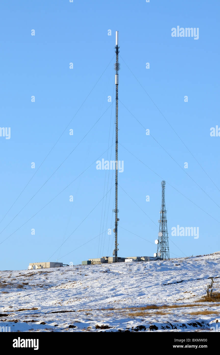 Eitshal TV transmitter and Wimax transponder on the Isle of Lewis - Stock Image