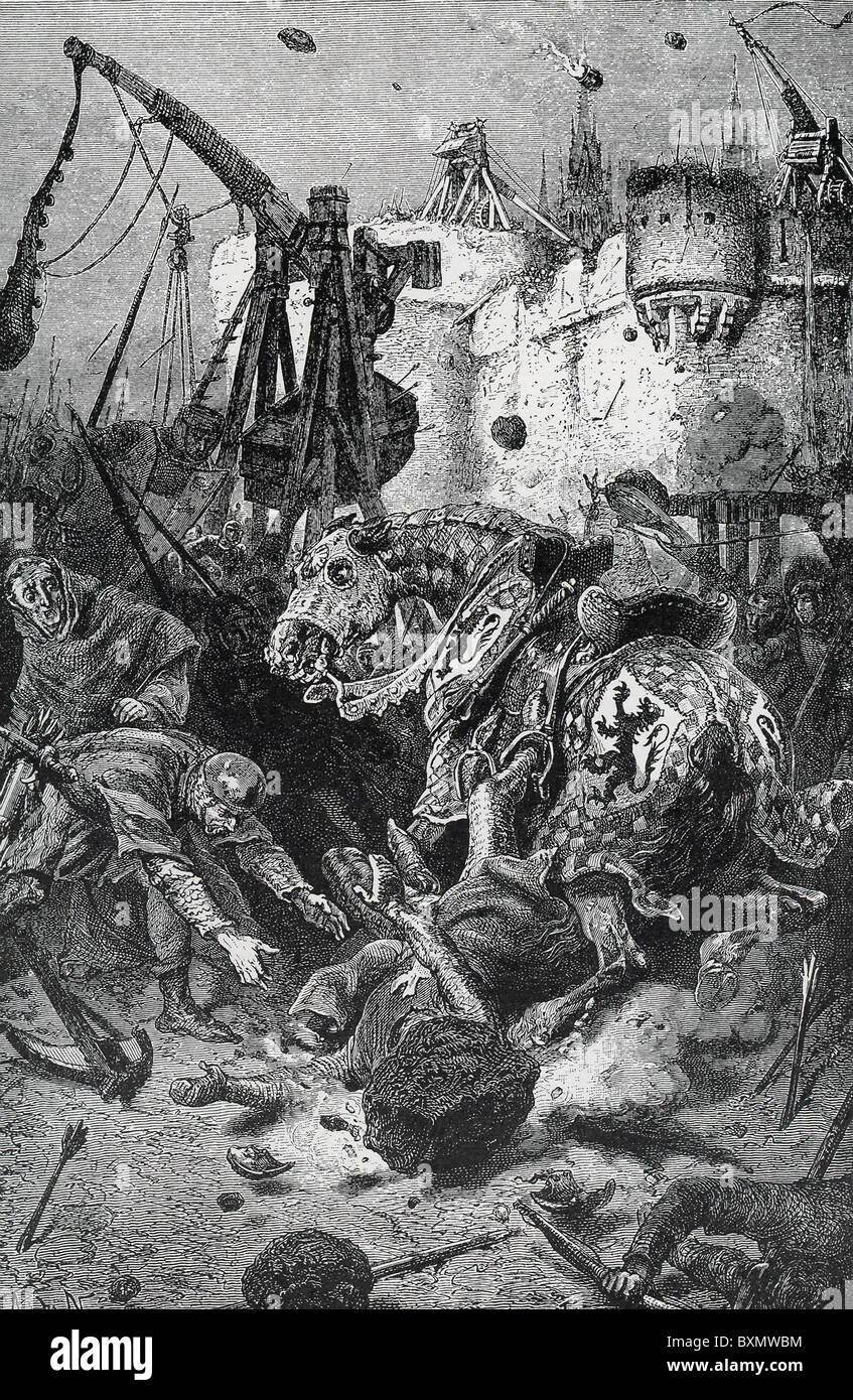 French nobleman Simon de Montfort at the siege of Toulouse was killed on June 25, 1218, by  a catapulted stone. - Stock Image