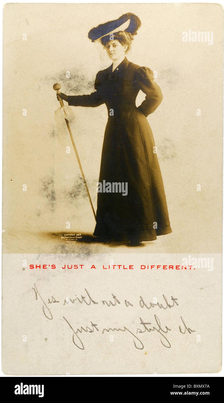 1905 Vintage Postcard of Fashionable Woman - Stock Image