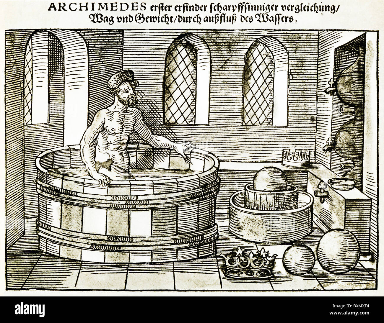 Archimedes, Eureka, in his bath as he works out the theory of displacement in this 16th Century German engraving - Stock Image