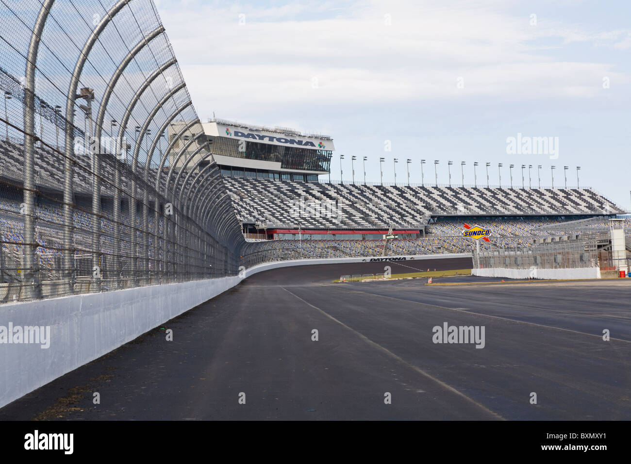 Empty race track at Daytona International Speedway in Daytona Beach Florida - Stock Image