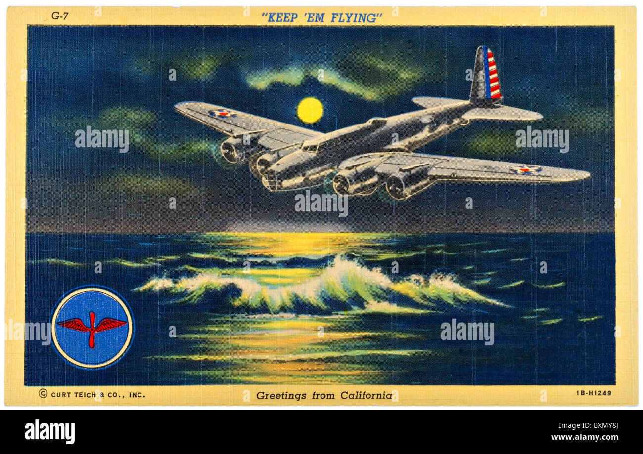 Vintage Teich postcard of military airplane flying over water at night Welcome to California - Stock Image