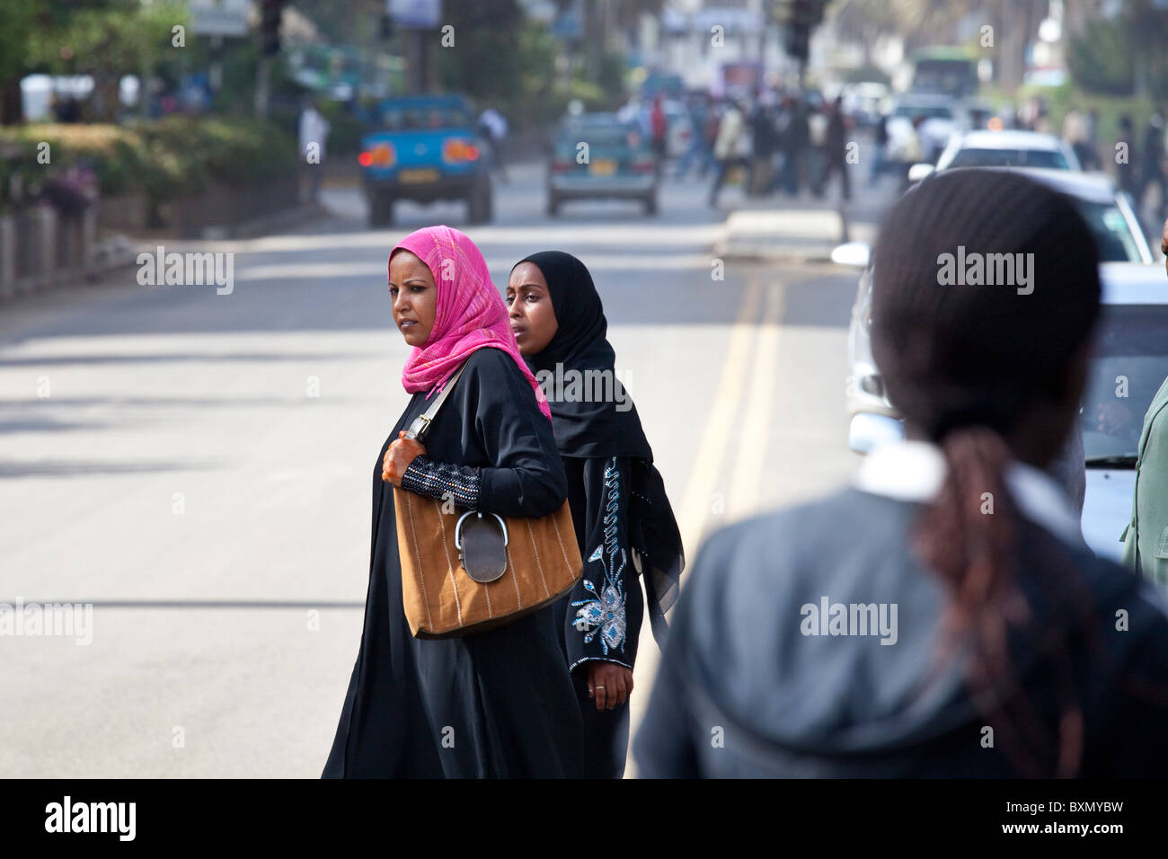 Muslim women in downtown Nairobi, Kenya - Stock Image