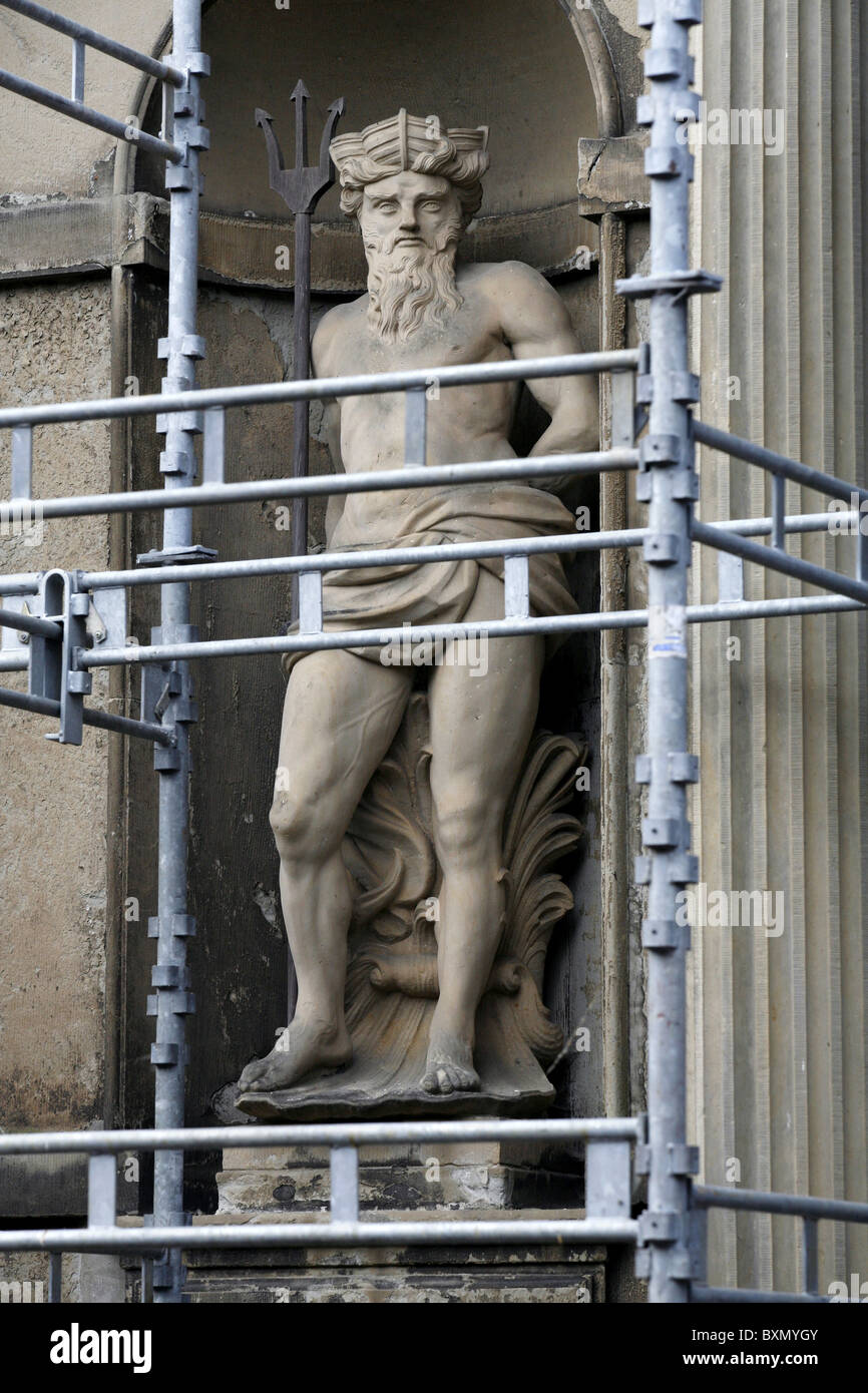 Neptune Statue, Fireportegården, The Four-Gate Court, Kronborg Castle, Helsingør, Zealand, Denmark - Stock Image