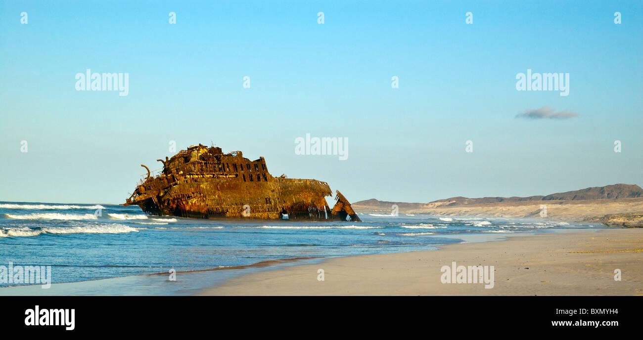 Santa Maria shipwreck on the beach, Boa Vista, Cape Verde - Stock Image