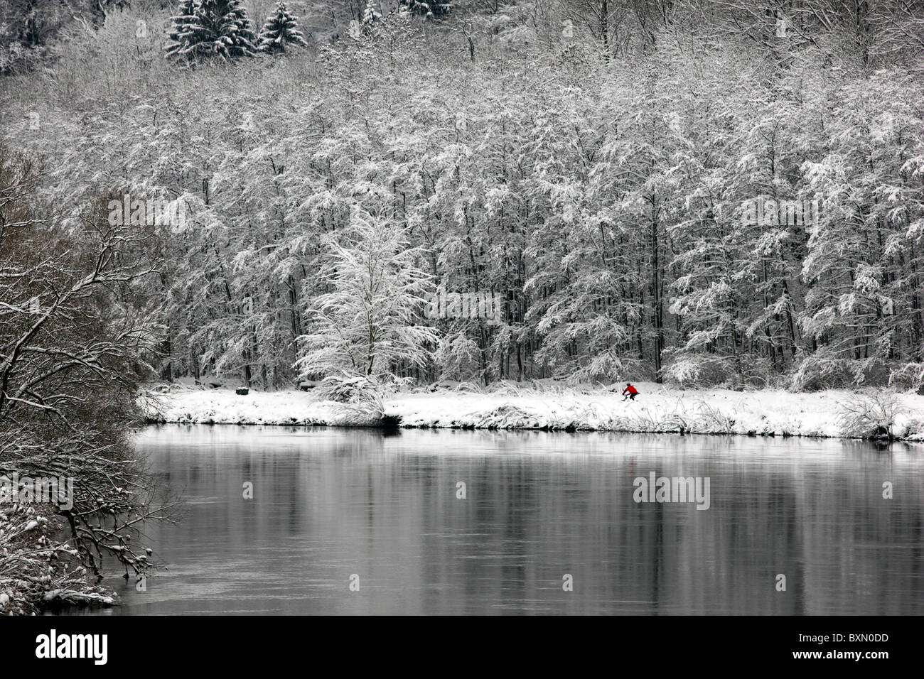 Wintertime, river Ruhr, snowy, Essen, Germany. - Stock Image