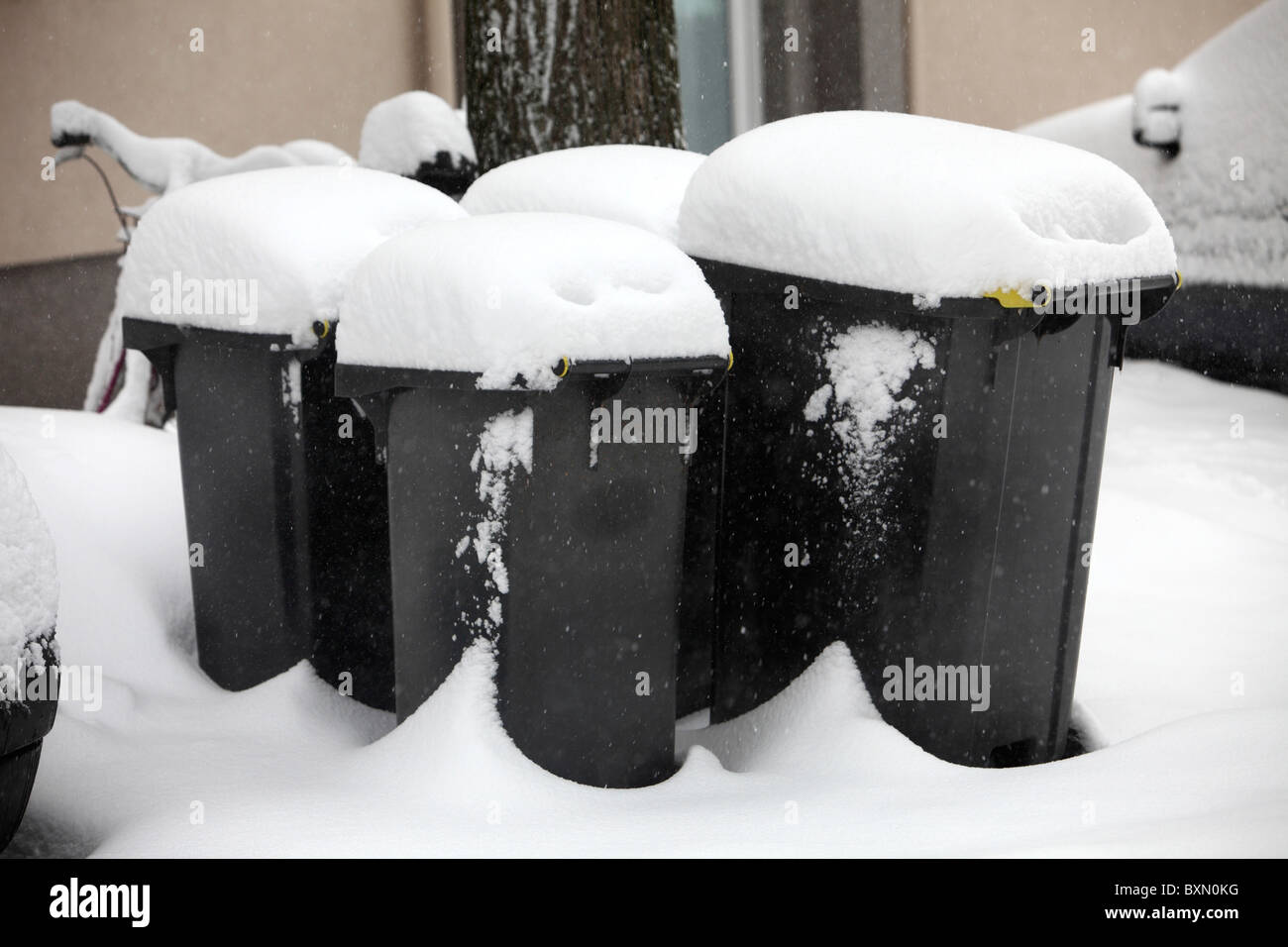 Snow covered garbage bins, full, waiting for rubbish collection. Stock Photo