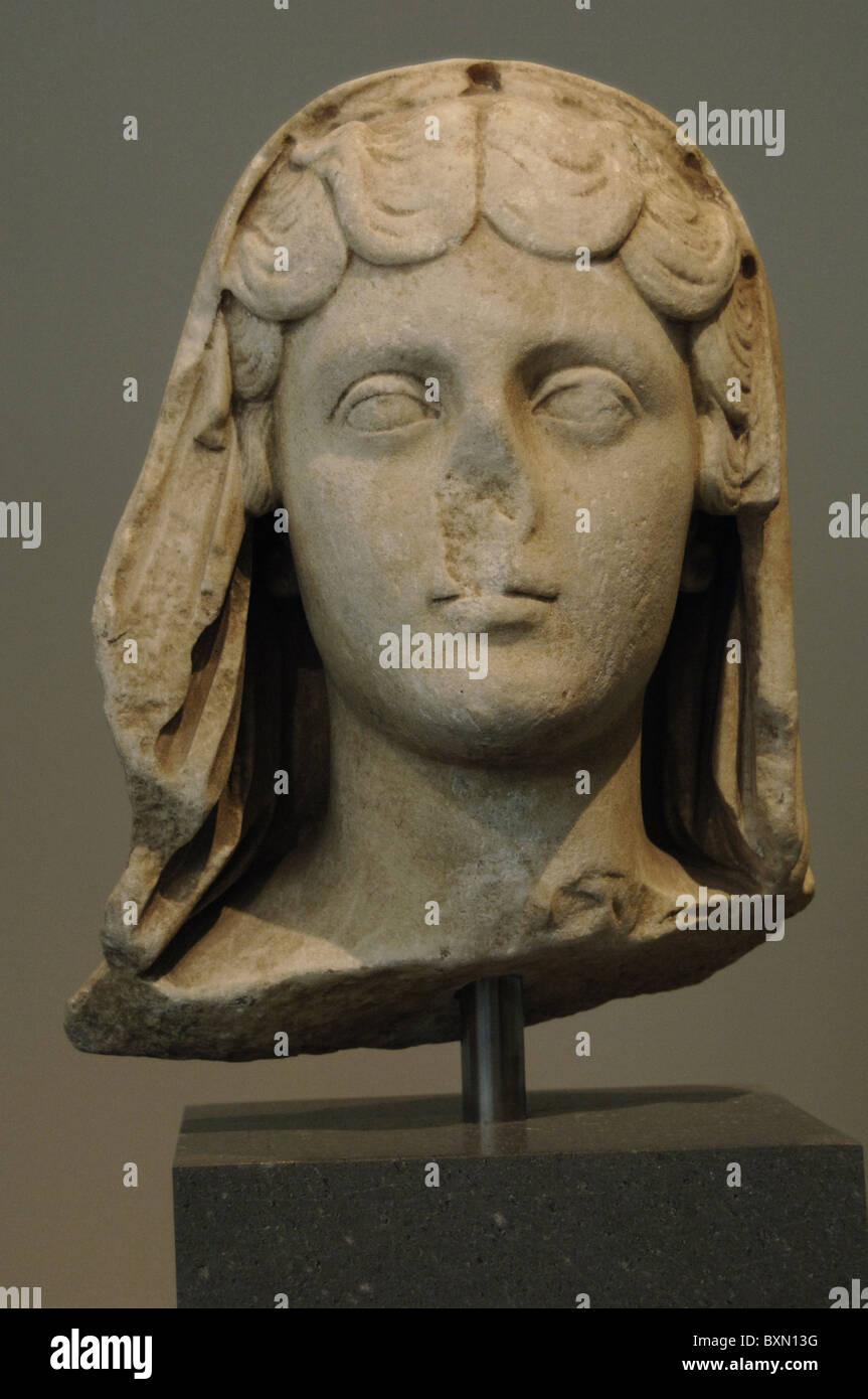 Faustina Minor or Faustina the Younger (125/130-175). Marble portrait. Wife of the emperor Marcus Aurelius. - Stock Image