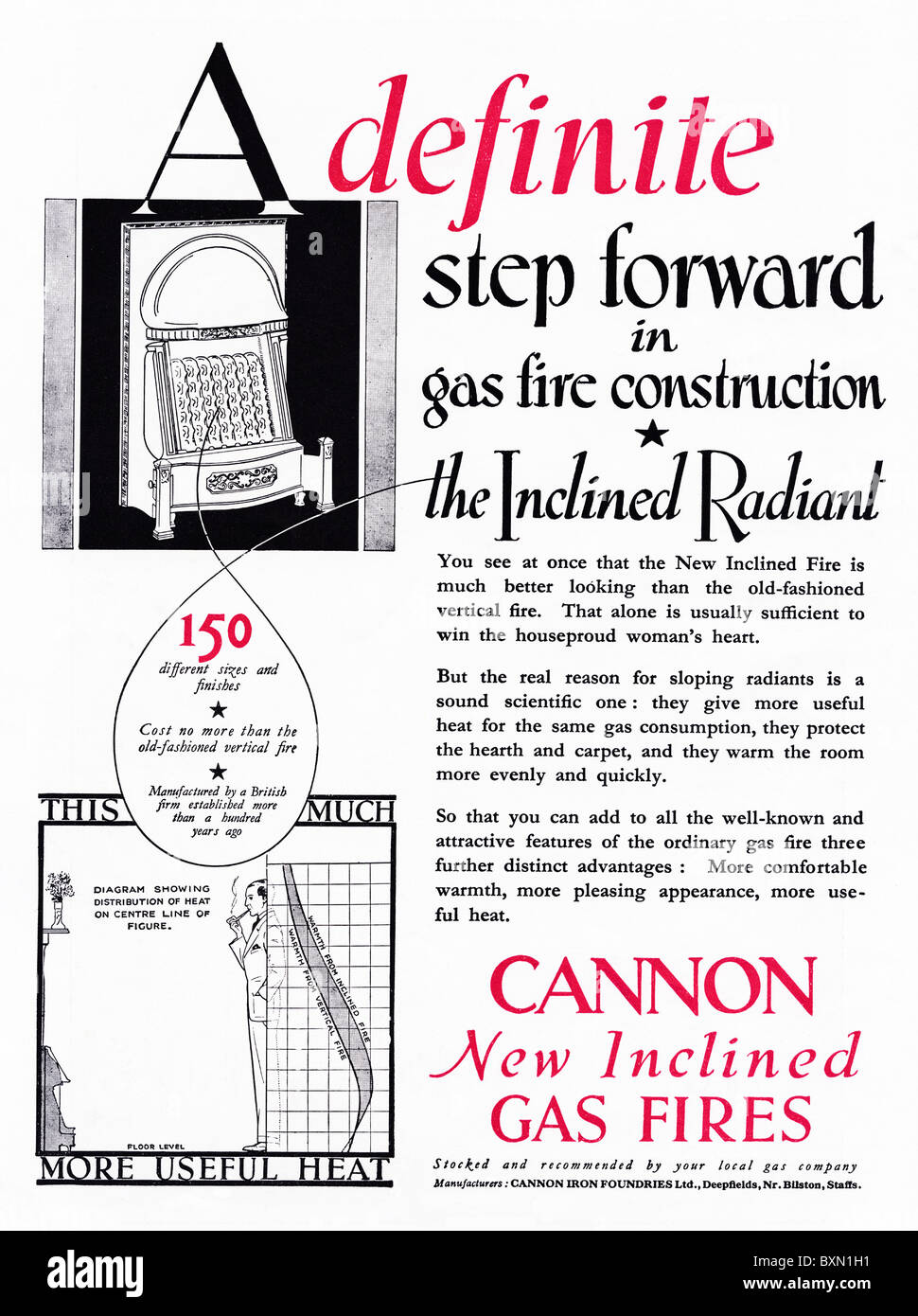 Advertisement for Cannon Inclined Radiant gas fires in women's magazine circa 1929 - Stock Image