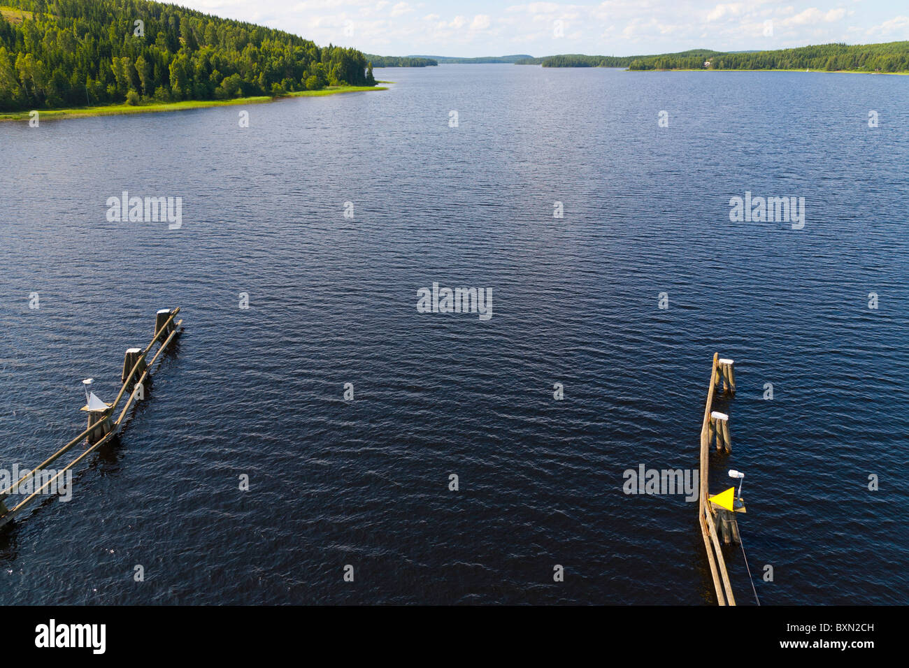 The sluice at lake Glafsfjorden, Varmland, Sweden. - Stock Image