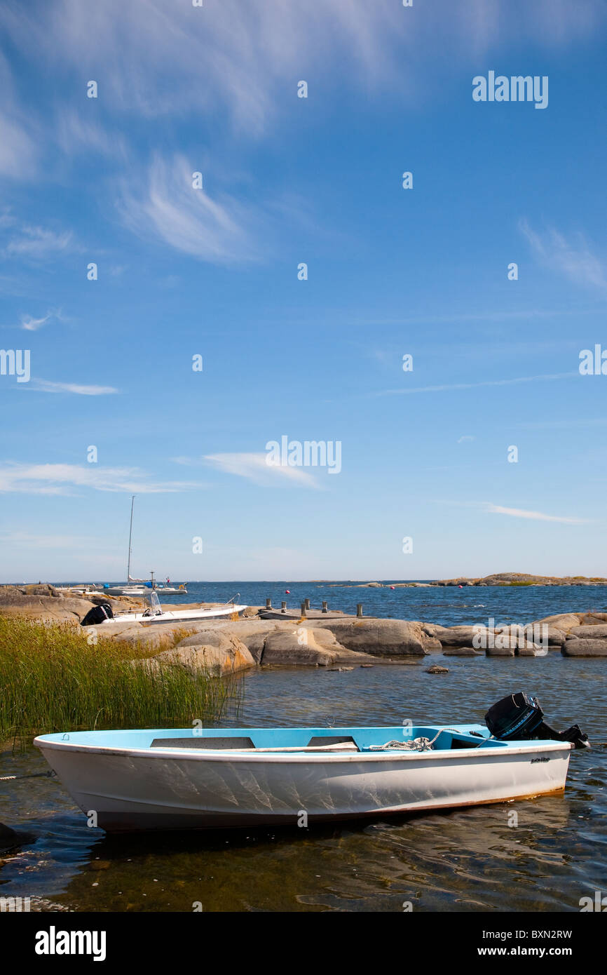 Small boat in the 'Archipelago of Stockholm', Sweden. - Stock Image