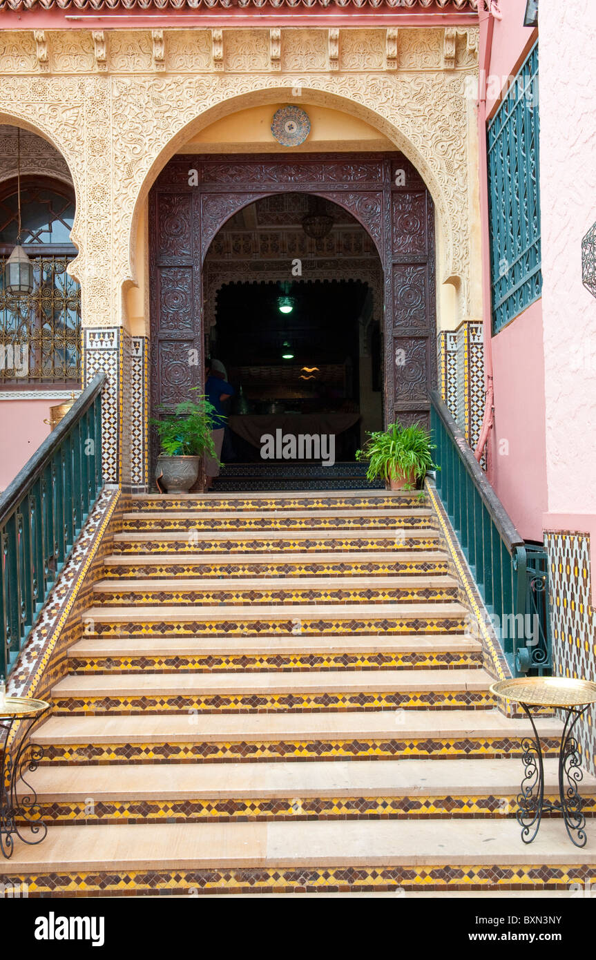 Arched doorways and stairs in the medina, old town of Meknes, Morocco. - Stock Image