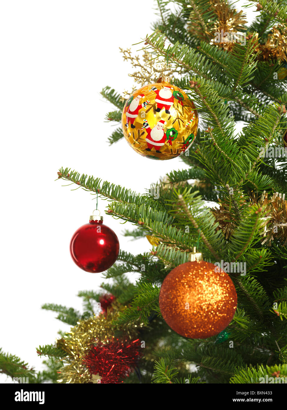 Colorful ornament on a Christmas tree isolated on white background - Stock Image
