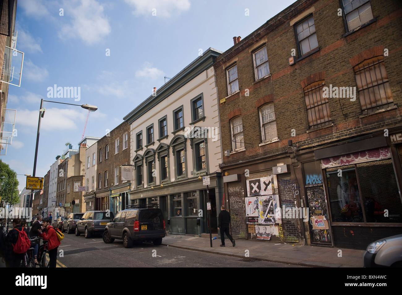 The Owl and the Pussycat Pub in Redchurch Street, Shoreditch, East London, UK - Stock Image