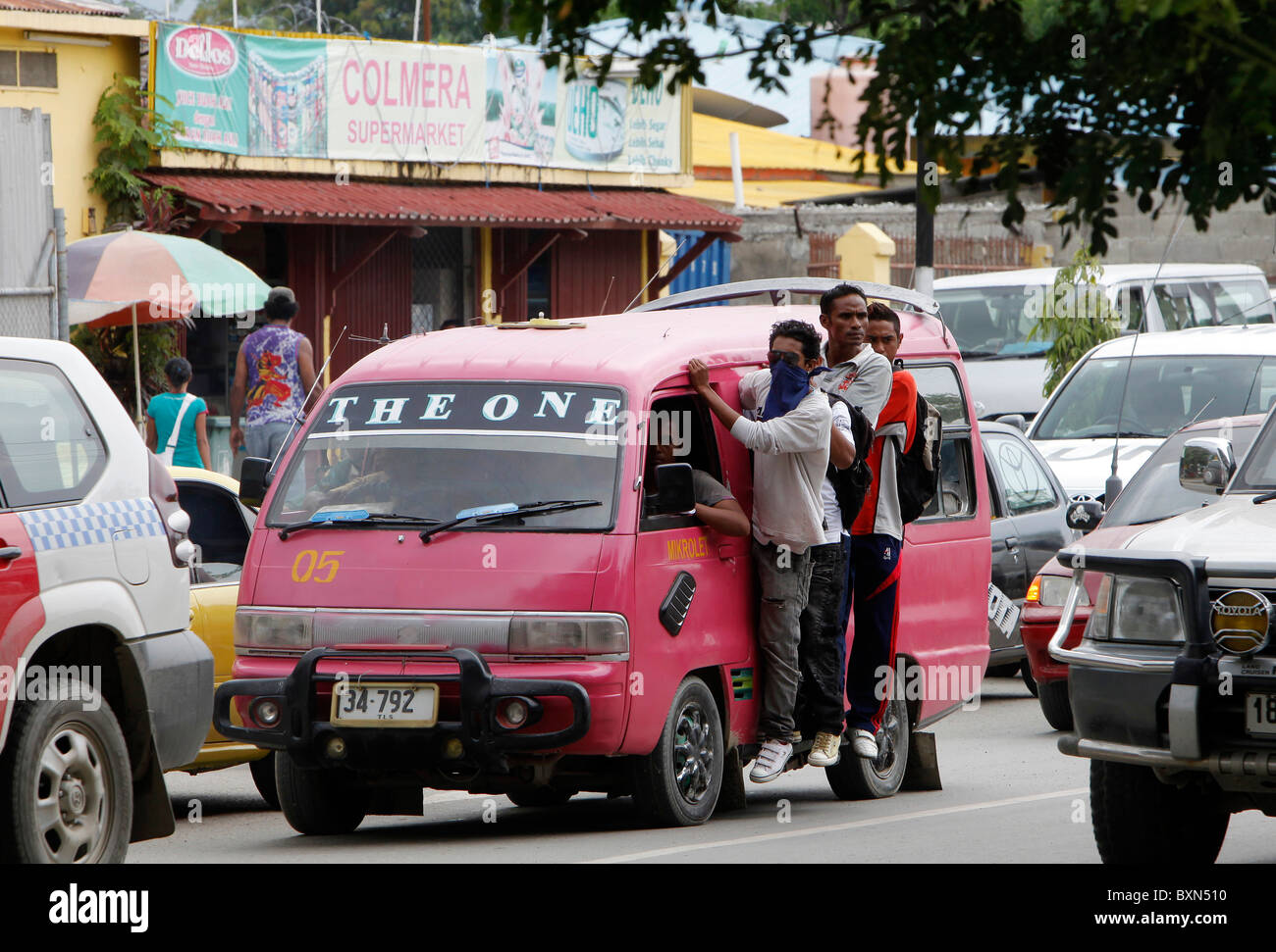 A Mikrolet (minibus) public transport in Dili, capital of Timor Leste (East Timor) - Stock Image