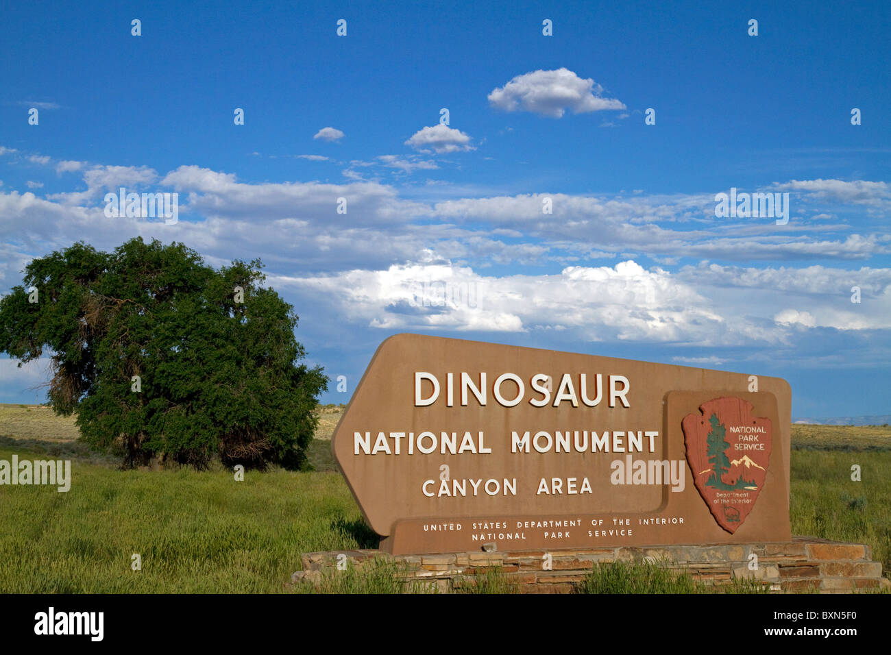 Dinosaur National Monument Canyon Area sign in Moffat County, Utah. - Stock Image