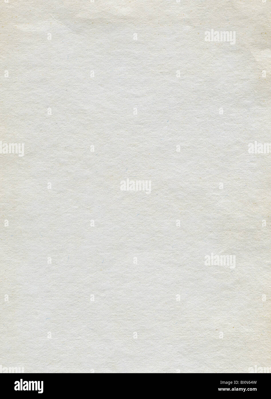 Textured white grainy recycled paper with natural fiber parts - Stock Image