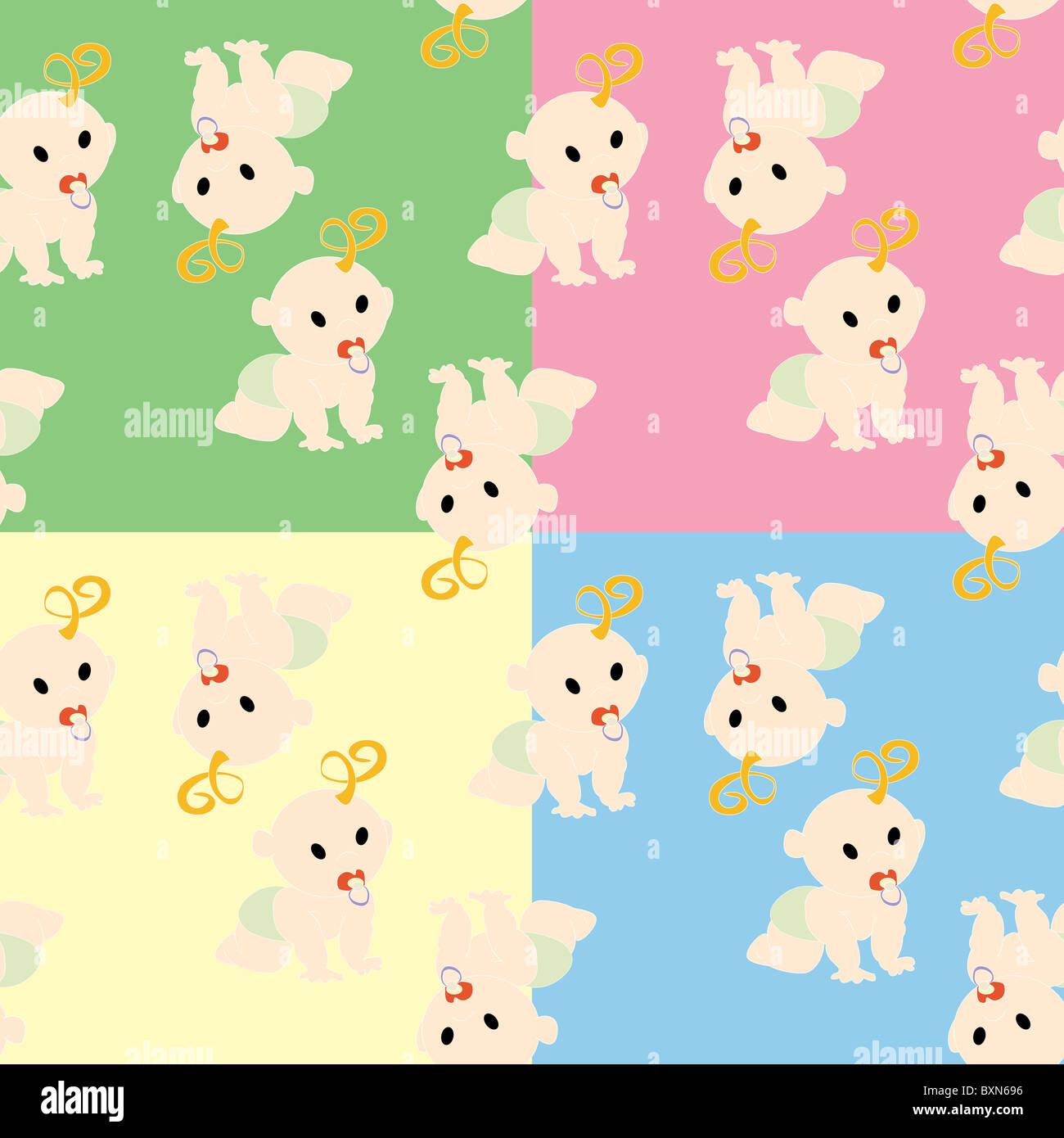 Pattern with babies - Stock Image