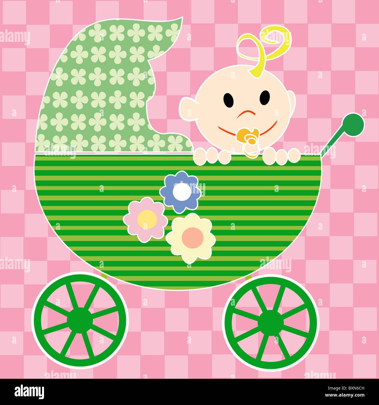 Baby in stroller - Stock Image