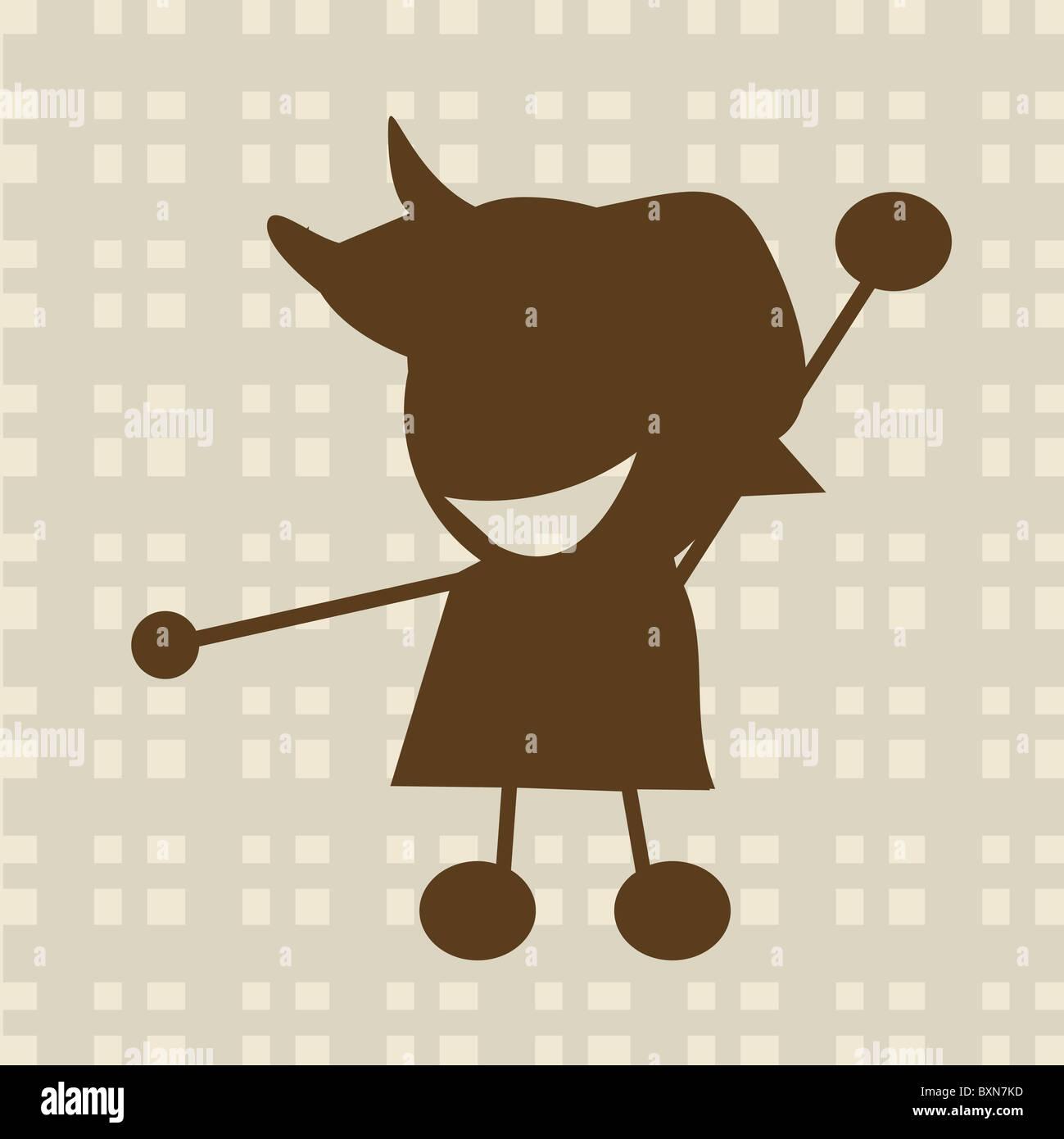 Little boy illustration - Stock Image