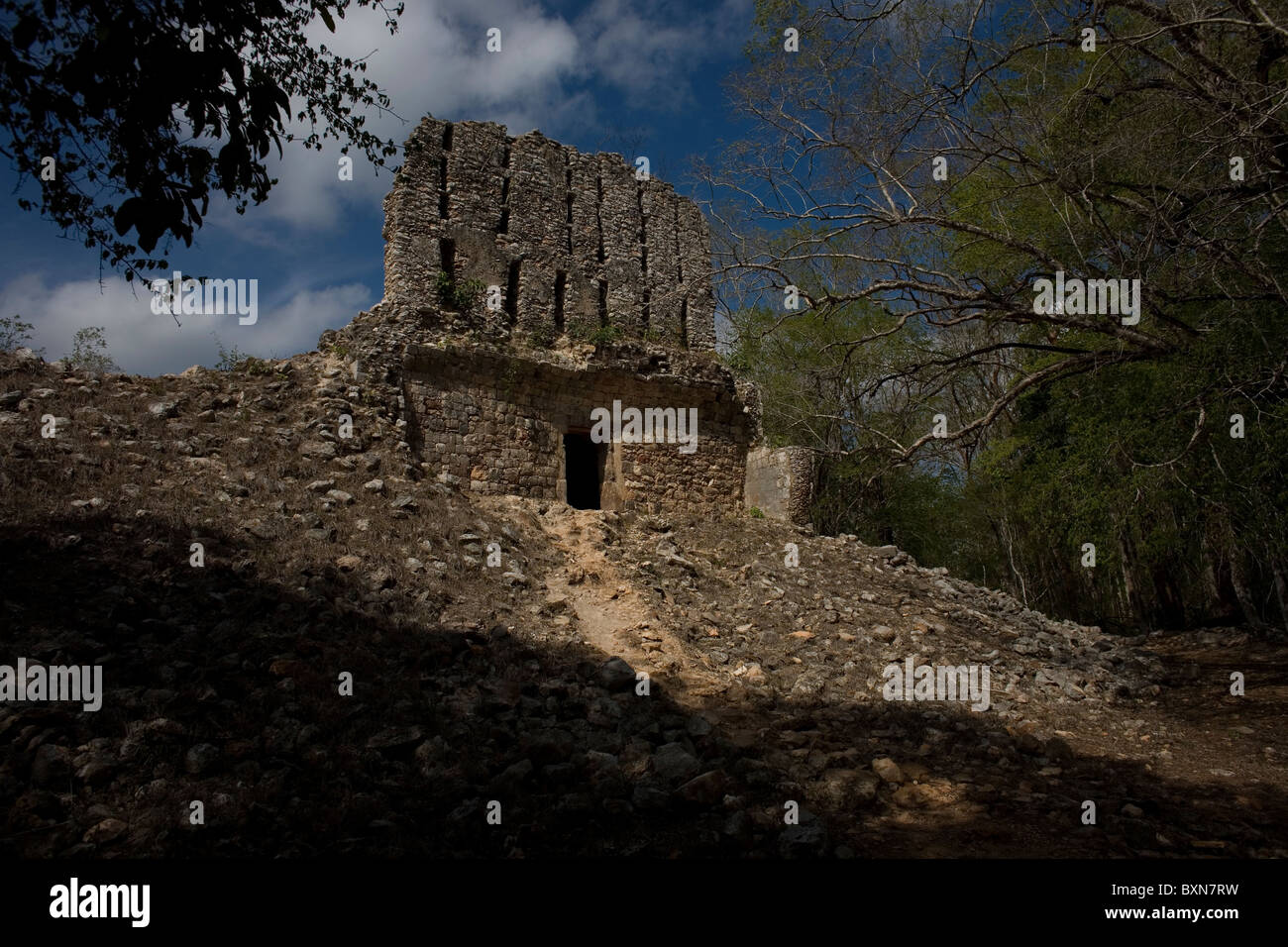 Building of the Mayan ruins of Sayil, along the Puuc route, in Yucatan state on Mexico's Yucatan peninsula, June Stock Photo
