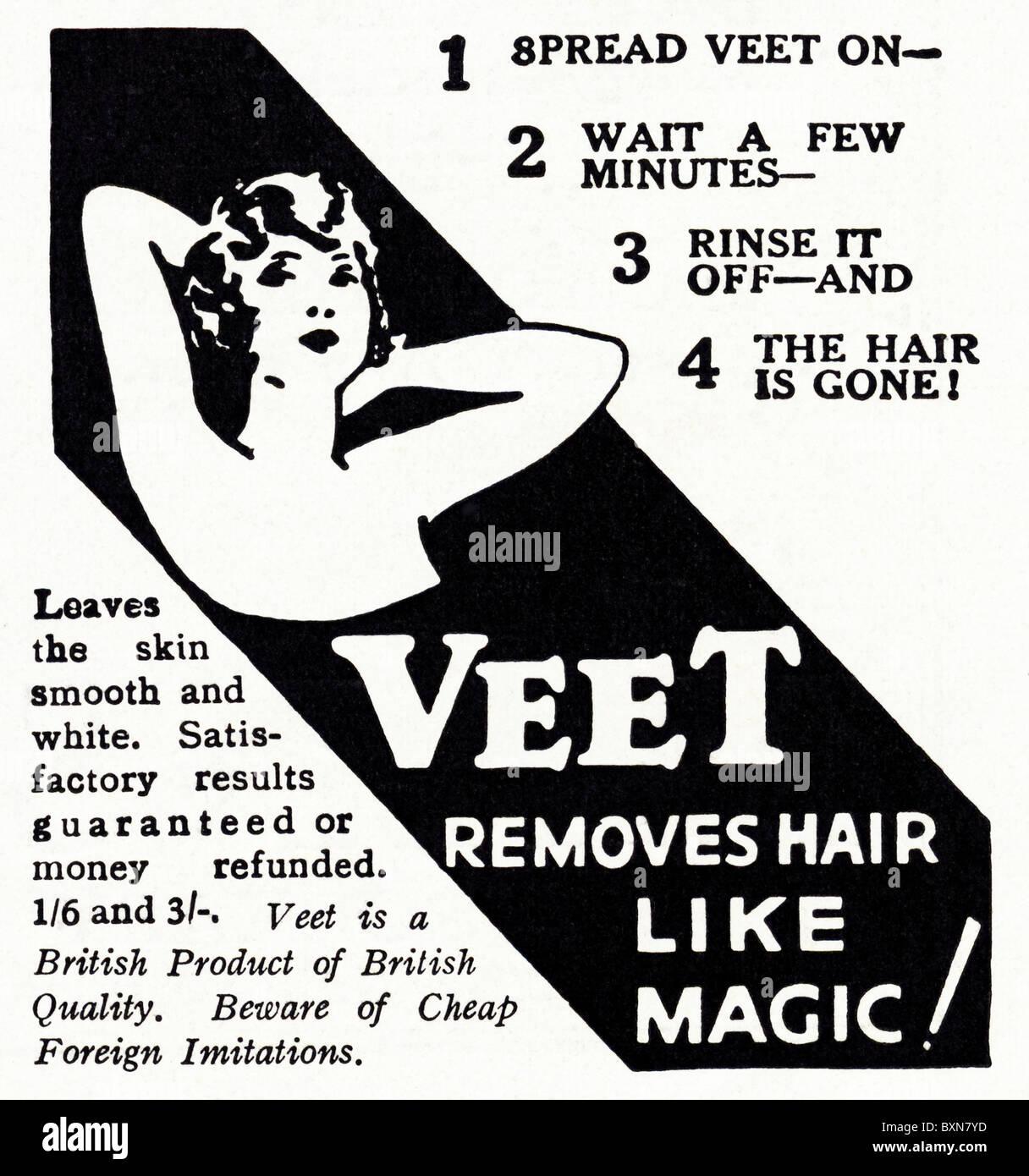 Advertisement for Veet hair remover in women's magazine circa 1929 - Stock Image