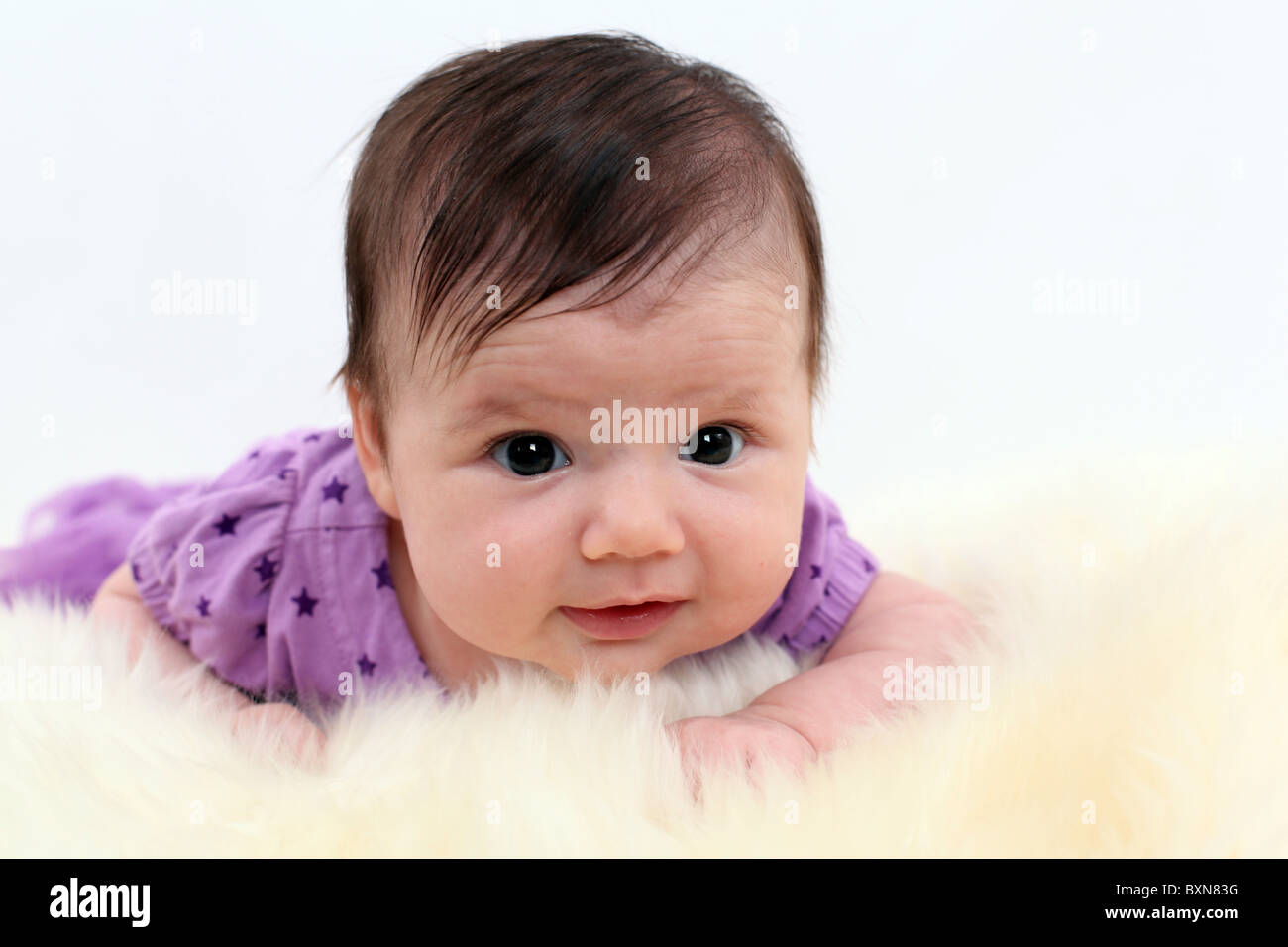 Infant baby girl in studio laying on stomach, enjoying tummy time - Stock Image