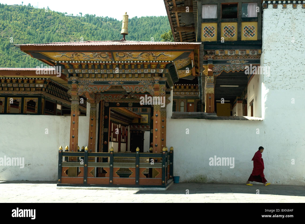 Inside the vast Thimpu dzong, or fortress; Bhutan's traditional art and architecture are closely related to - Stock Image