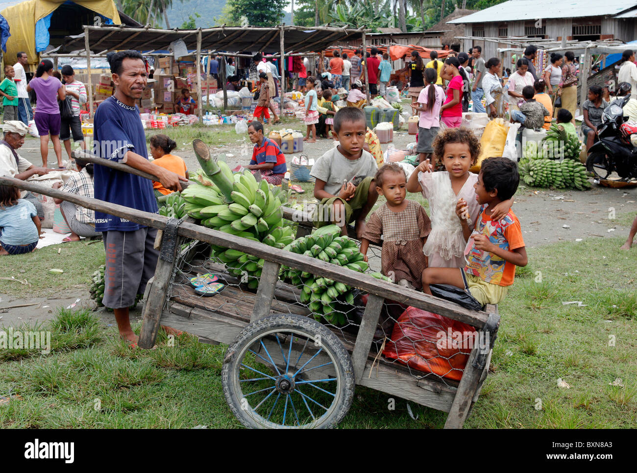 Timor Leste (East Timor): wheelbarrow with vegetables and children at a market in Salele - Stock Image