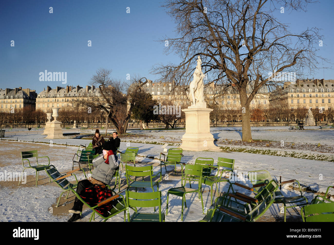 Paris France tourists at Tuileries garden in winter time - Stock Image
