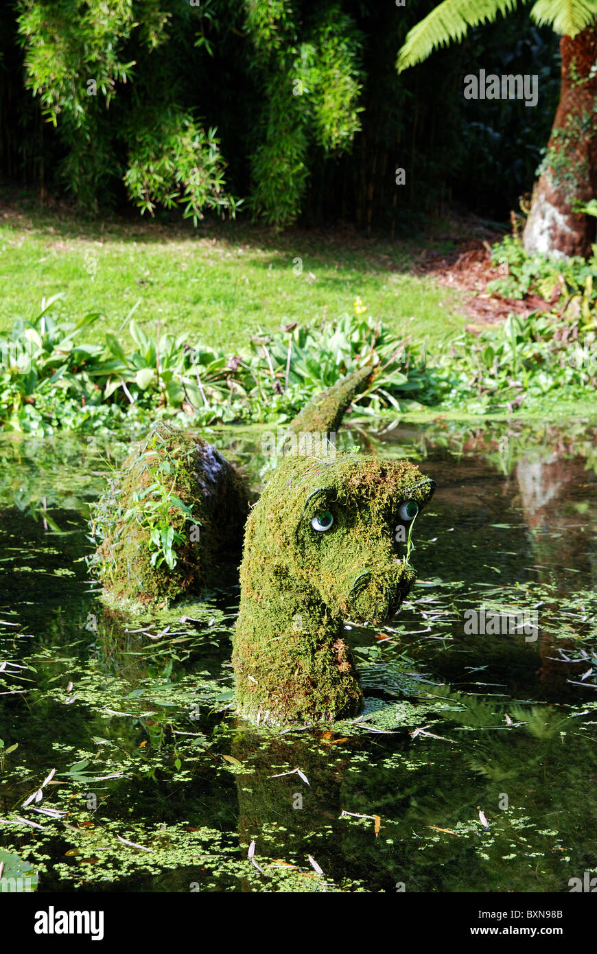 A ' loch ness monster ' water feature at trebah gardens near falmouth in cornwall, uk - Stock Image