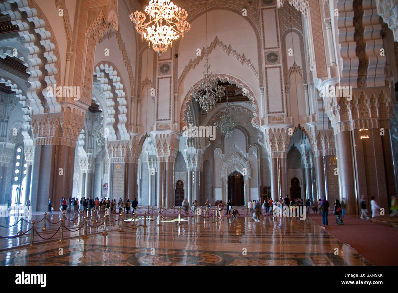 Hassan II Mosque's interior in Casablanca, Morocco - Stock Image