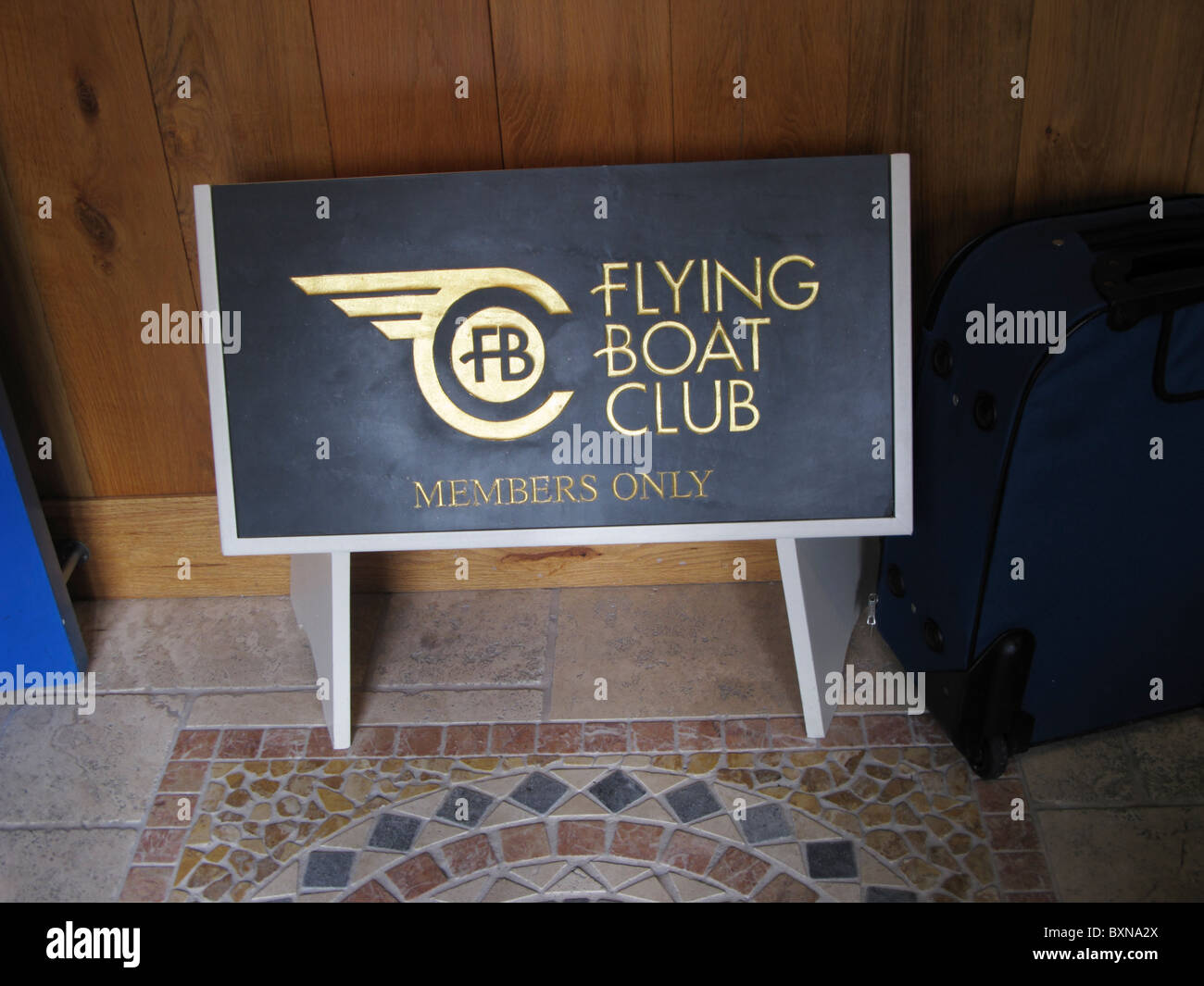 Sign of the Flying Boat Club Tresco Isle of Scilly Cornwall UK - Stock Image