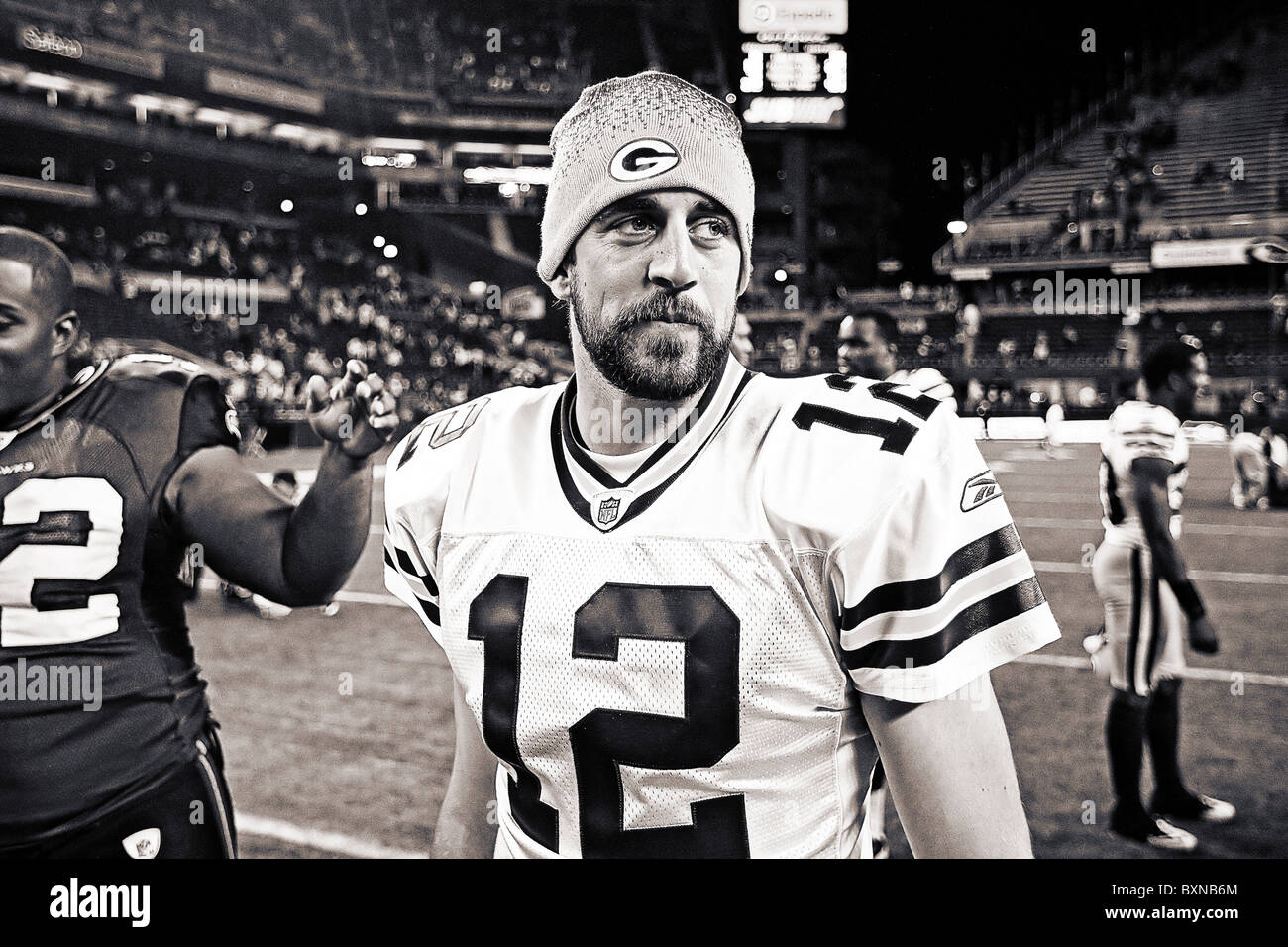 Aaron Rodgers on the field after a football game - Stock Image