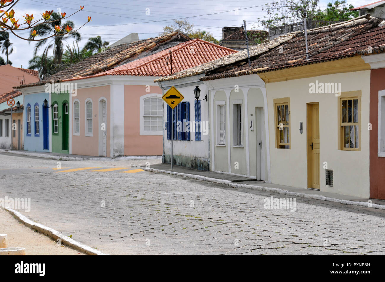 Street and houses at Ribeirao da Ilha, Florianopolis, Santa Catarina, Brazil - Stock Image
