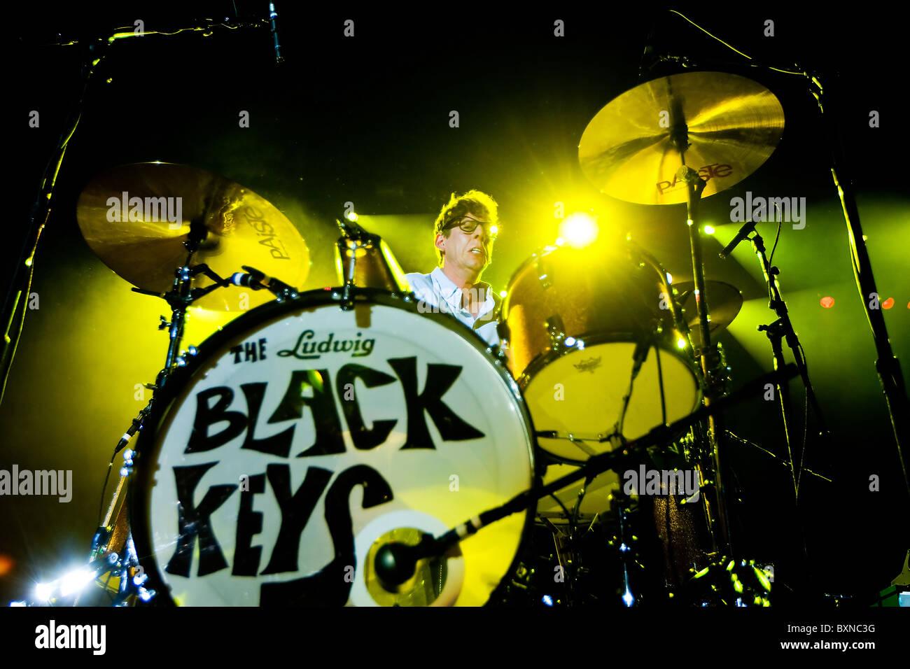 Rock band the Black Keys drummer Patrick Carney - Stock Image