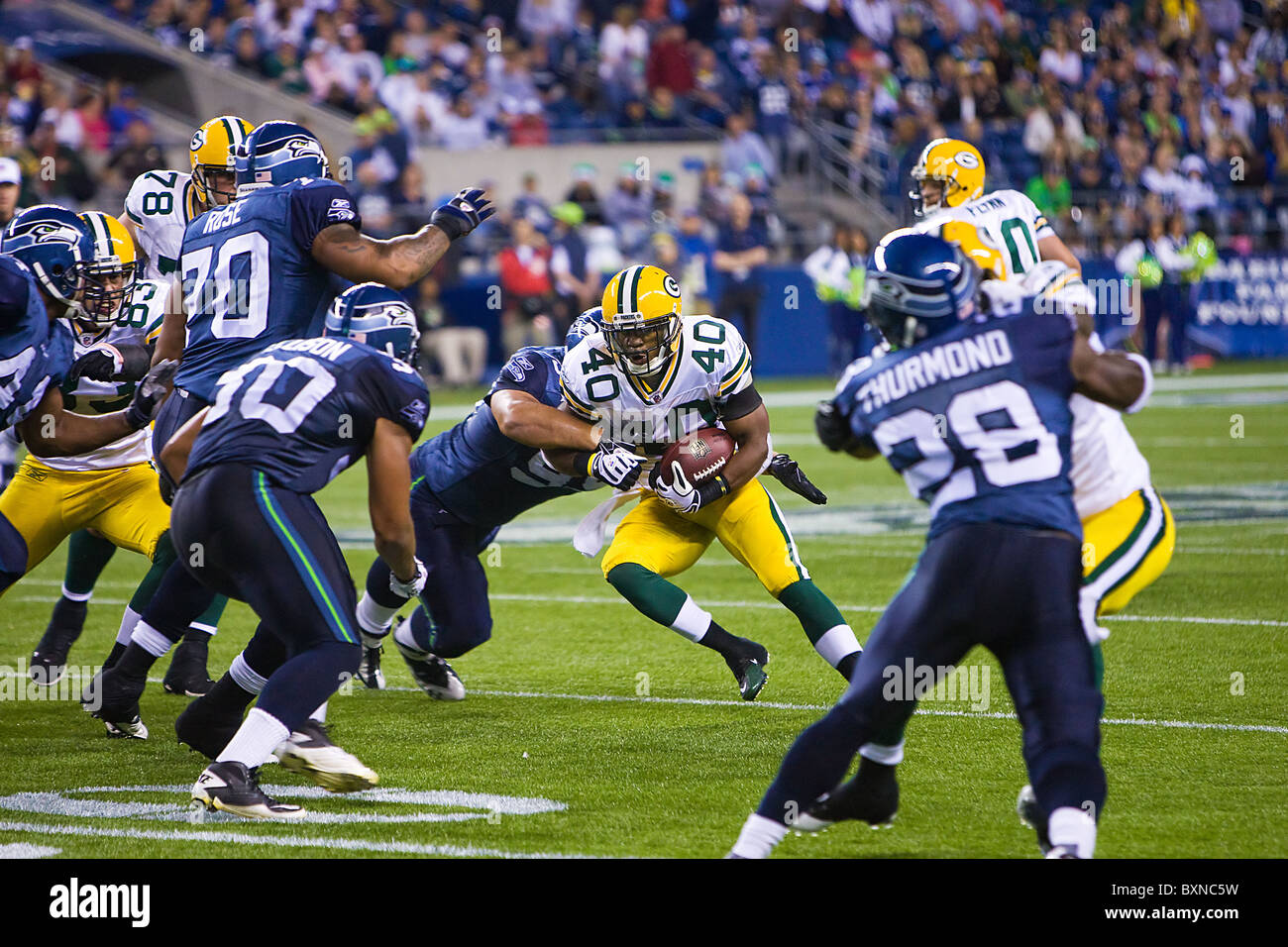 Seattle Seahawks playing the Green Bay Packers during and NFL football game - Stock Image