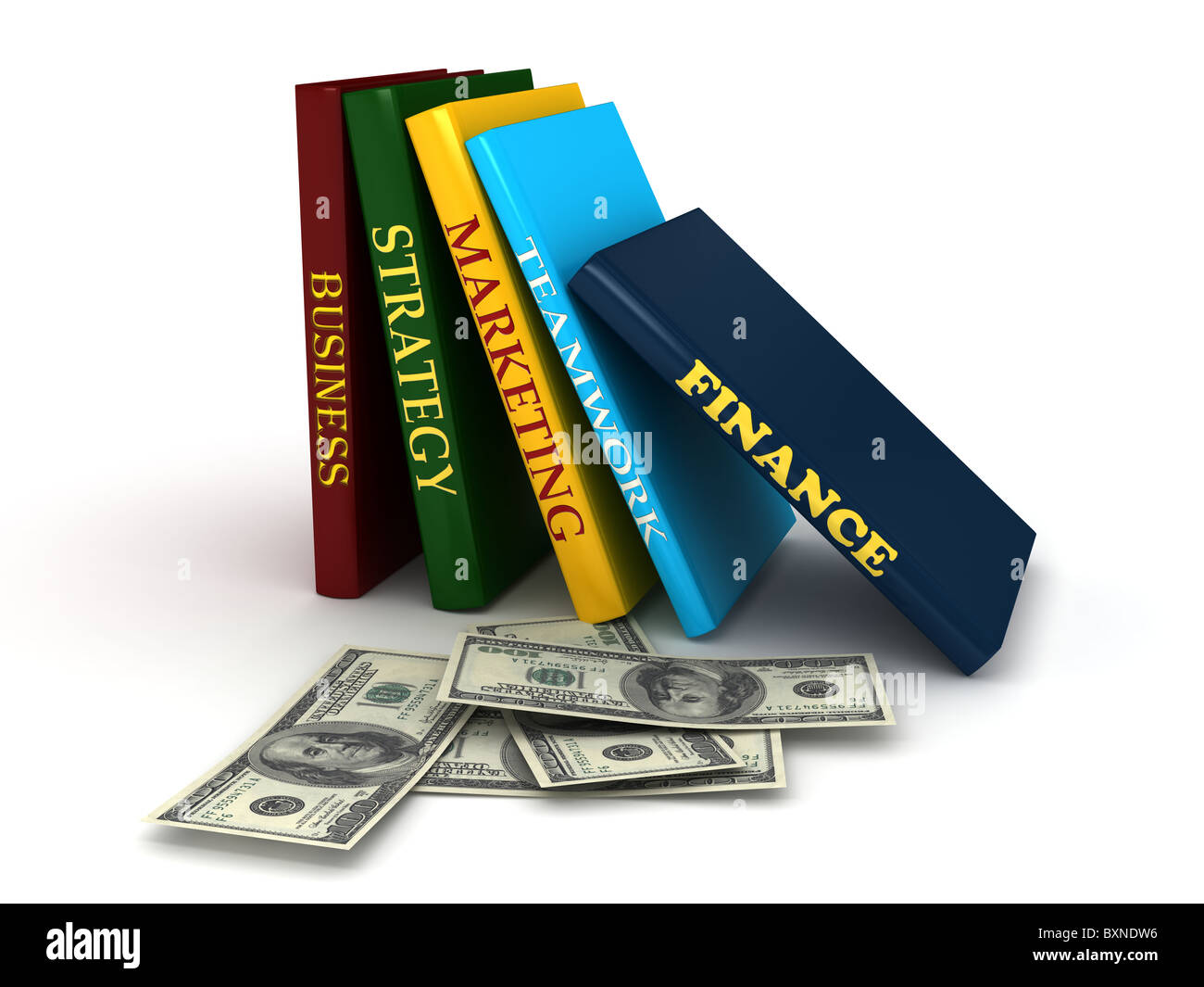 Business book with money - Stock Image