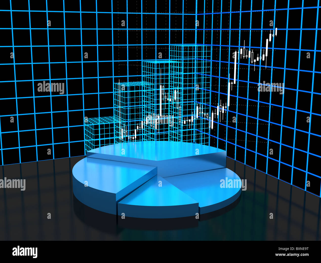 3d abstract chart for company presentation - Stock Image