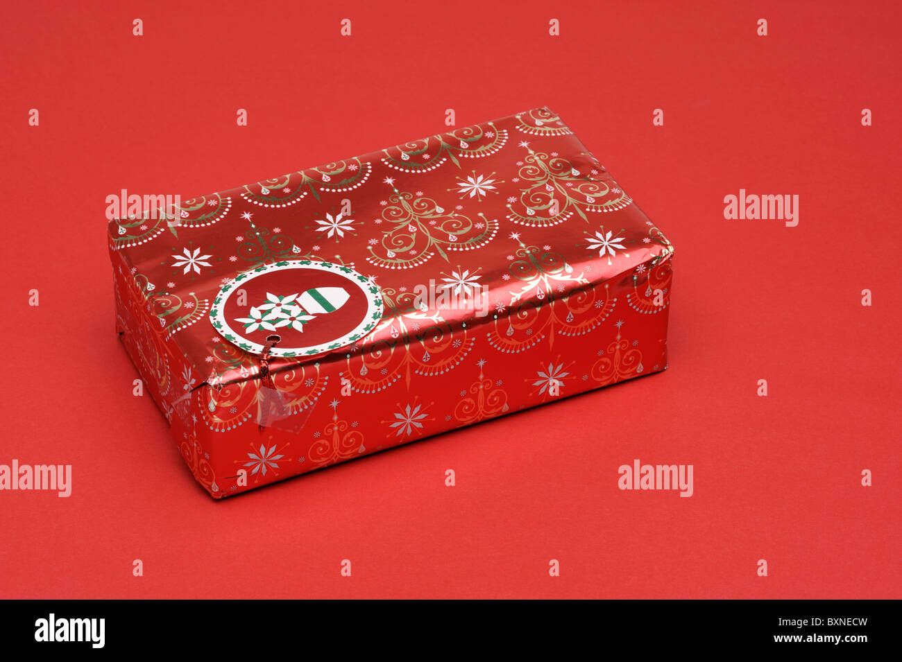 Red christmas present - Stock Image