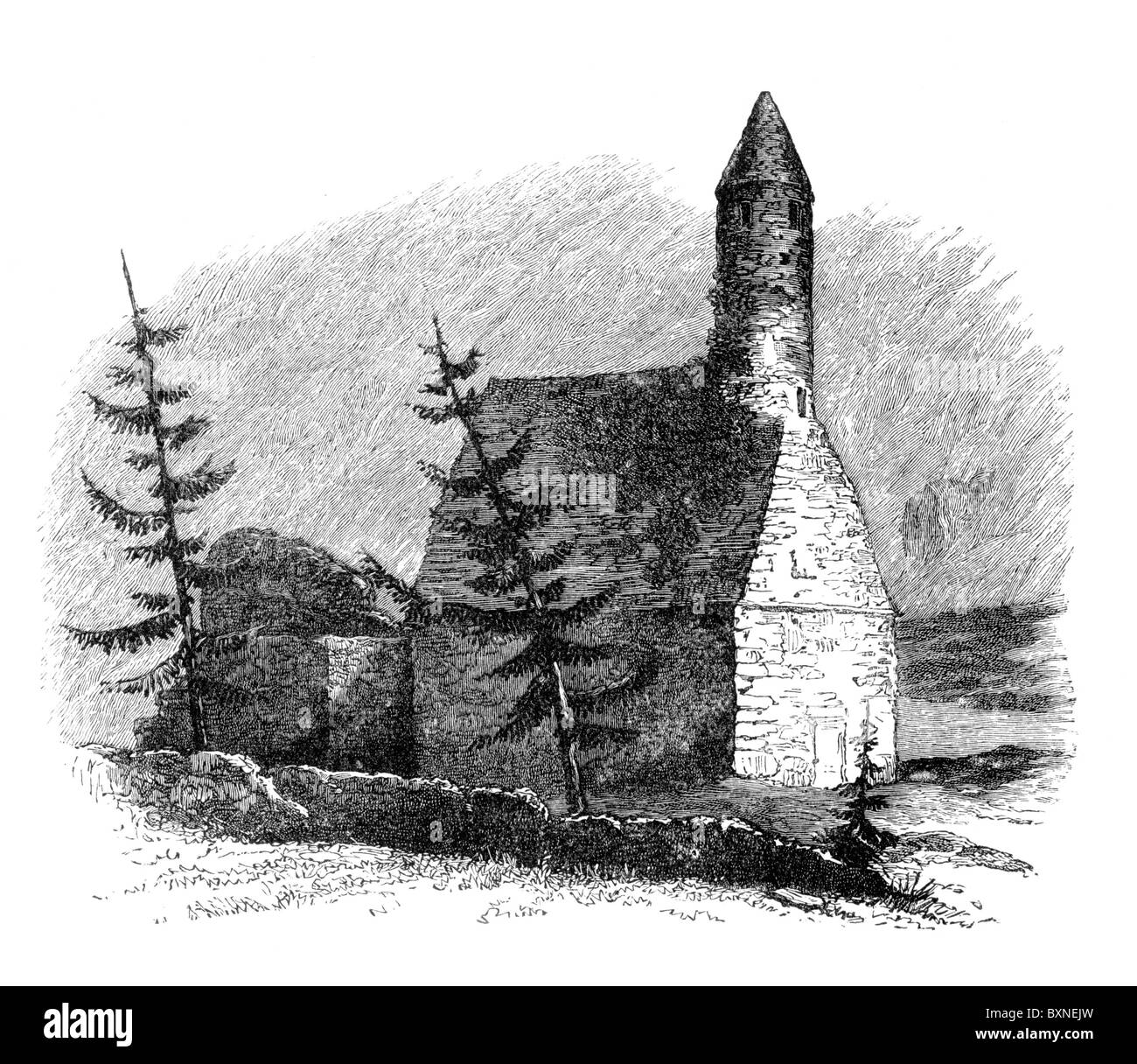 Saint Kevin's Cell, Glendalough, 19th century, after a drawing by Sir Thomas Deane; Black and White Illustration; - Stock Image