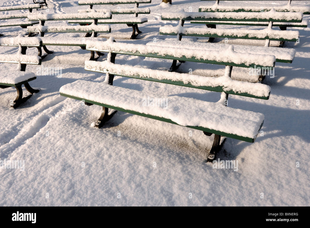 Snow covered benches - Stock Image
