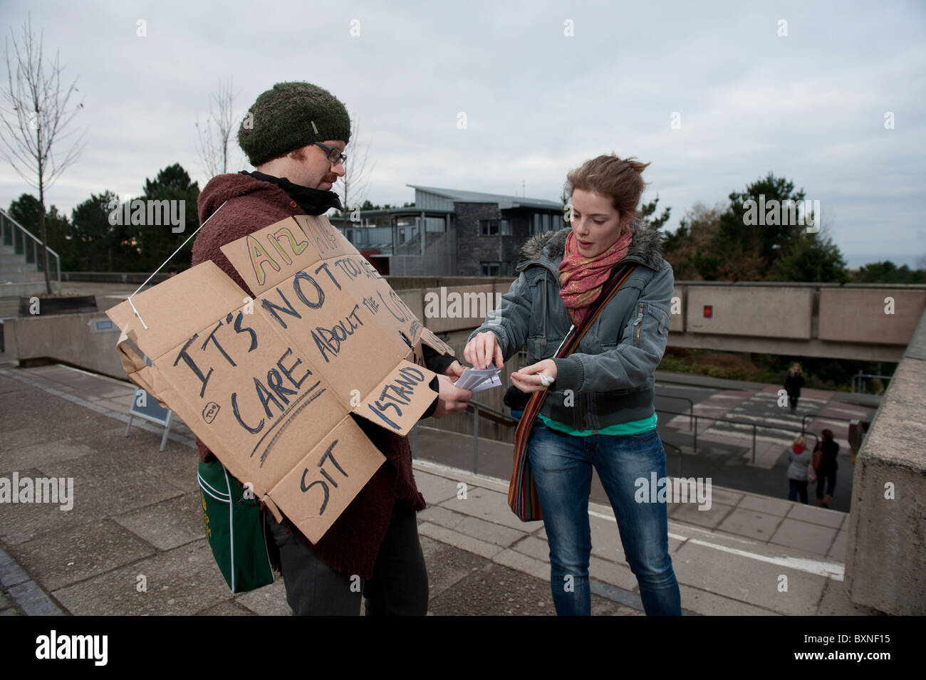 Aberystwyth University Students protesting about the cuts in higher education funding, Wales UK - Stock Image