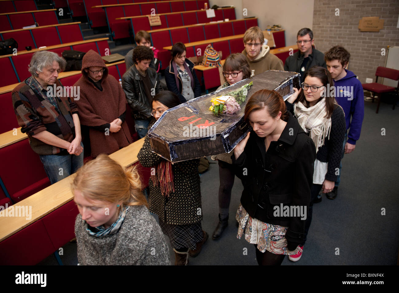 A mock funeral for the death of higher education staged by students at Aberystwyth University, wales UK - Stock Image