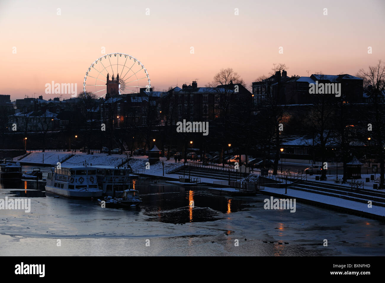 Chester Wheel and River Dee at dusk - Stock Image